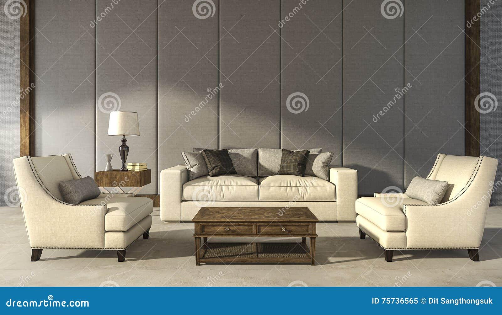 3d Rendant Le Salon Confortable Classique De Fauteuil Illustration ...
