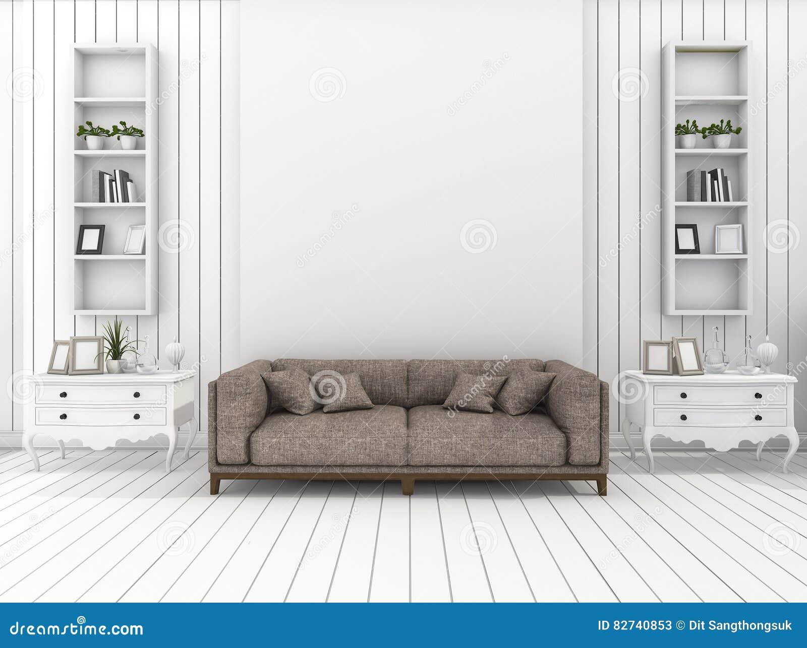 3d rendant le salon moderne blanc de mur avec la for Mur salon moderne