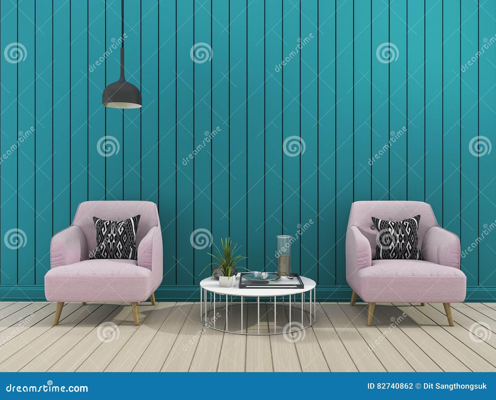 3d Rendant Le Salon Moderne Vert De Mur Avec Le Fauteuil Mou ...