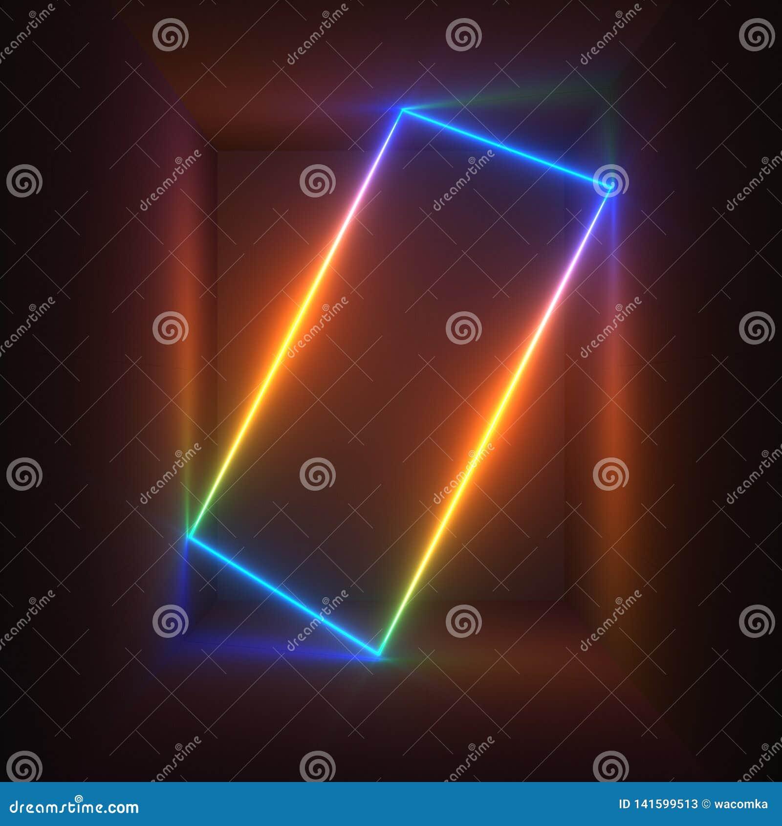 3d rendem, as luzes de néon, espectro do arco-íris, mostra do laser, iluminação, linhas retangulares de incandescência, fundo flu