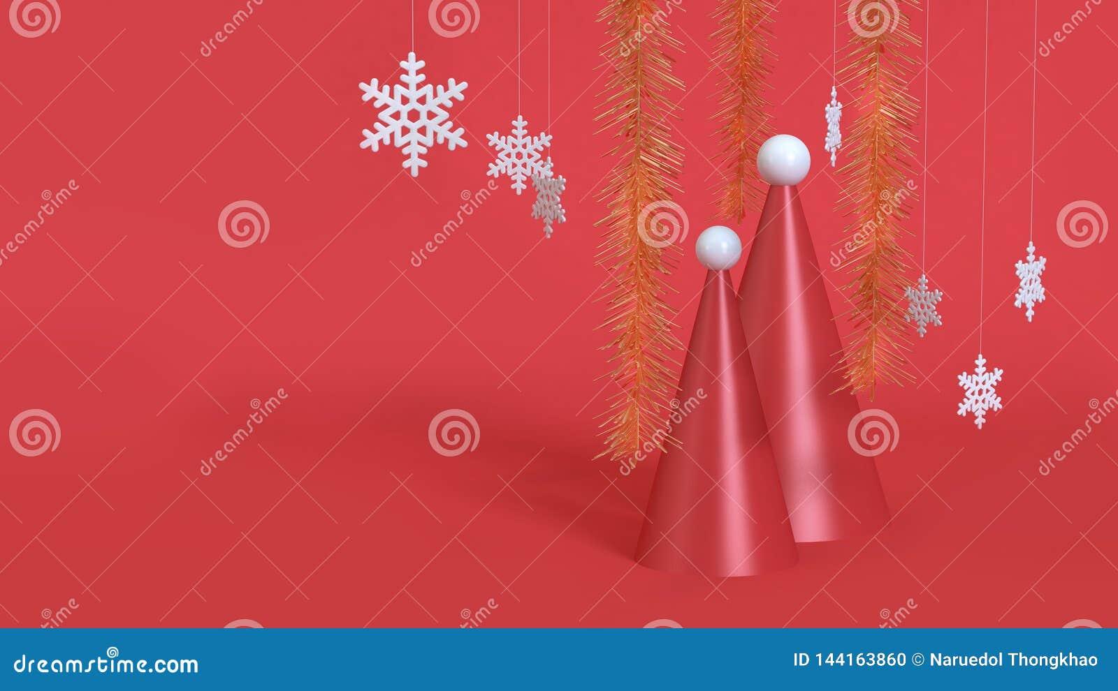 3d rendem a cena vermelha do tampão-cone abstrato do chapéu do Natal do fundo do Natal