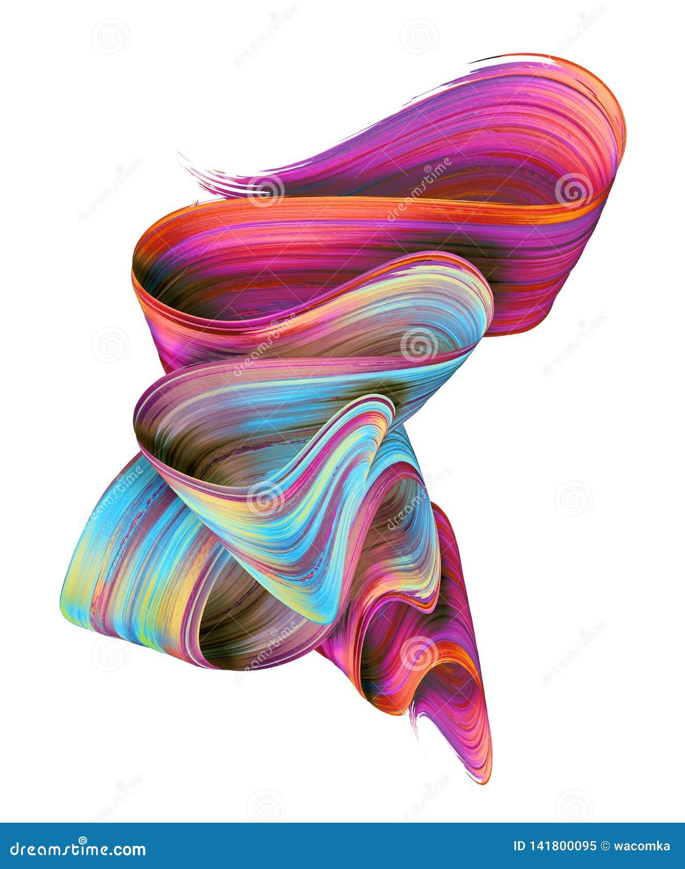 3d rendem, curso abstrato da escova, mancha de néon, fita dobrada colorida, textura da pintura, clipart artístico, isolado no bra