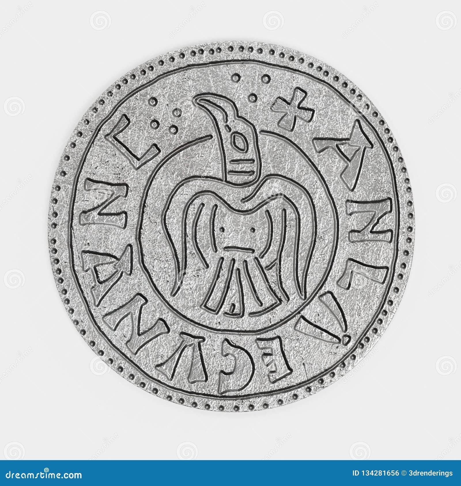 3d rendem da moeda de um centavo de prata