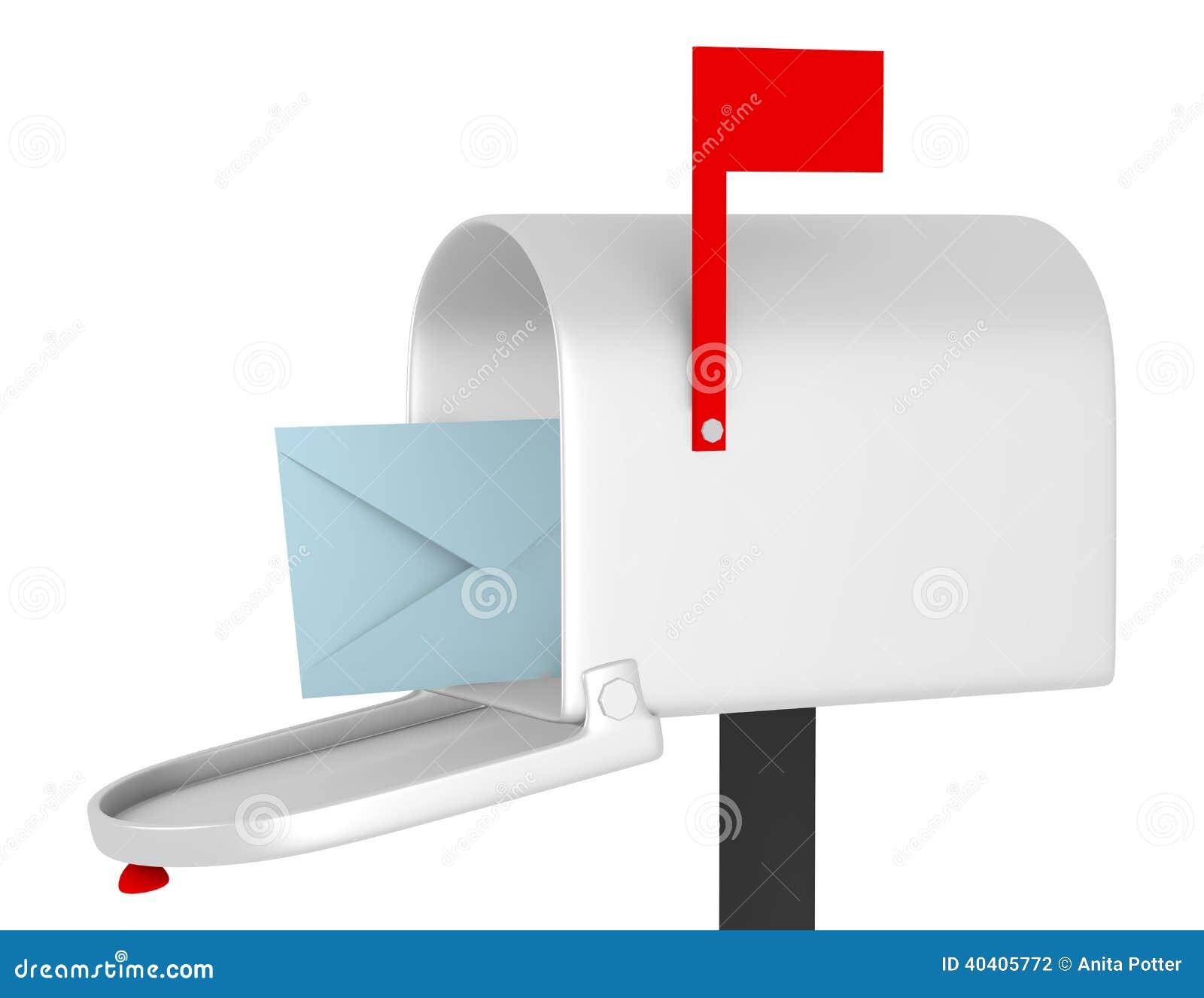 3d rendem de uma caixa postal aberta com um envelope