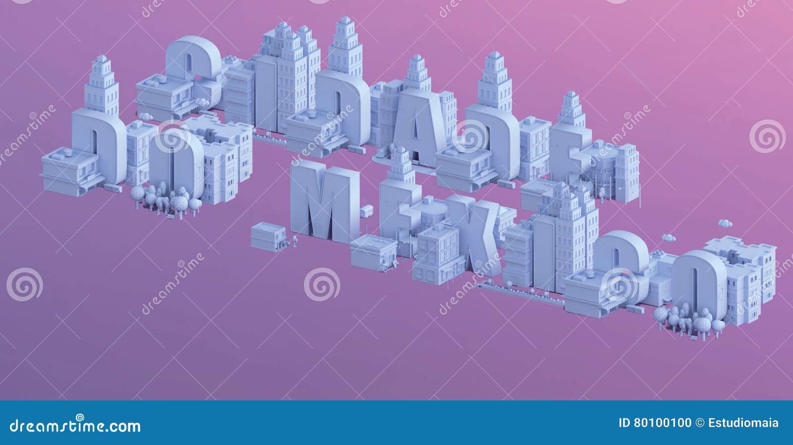 3d rendem de uma mini cidade, tipografia 3d do nome do cidade fazem México
