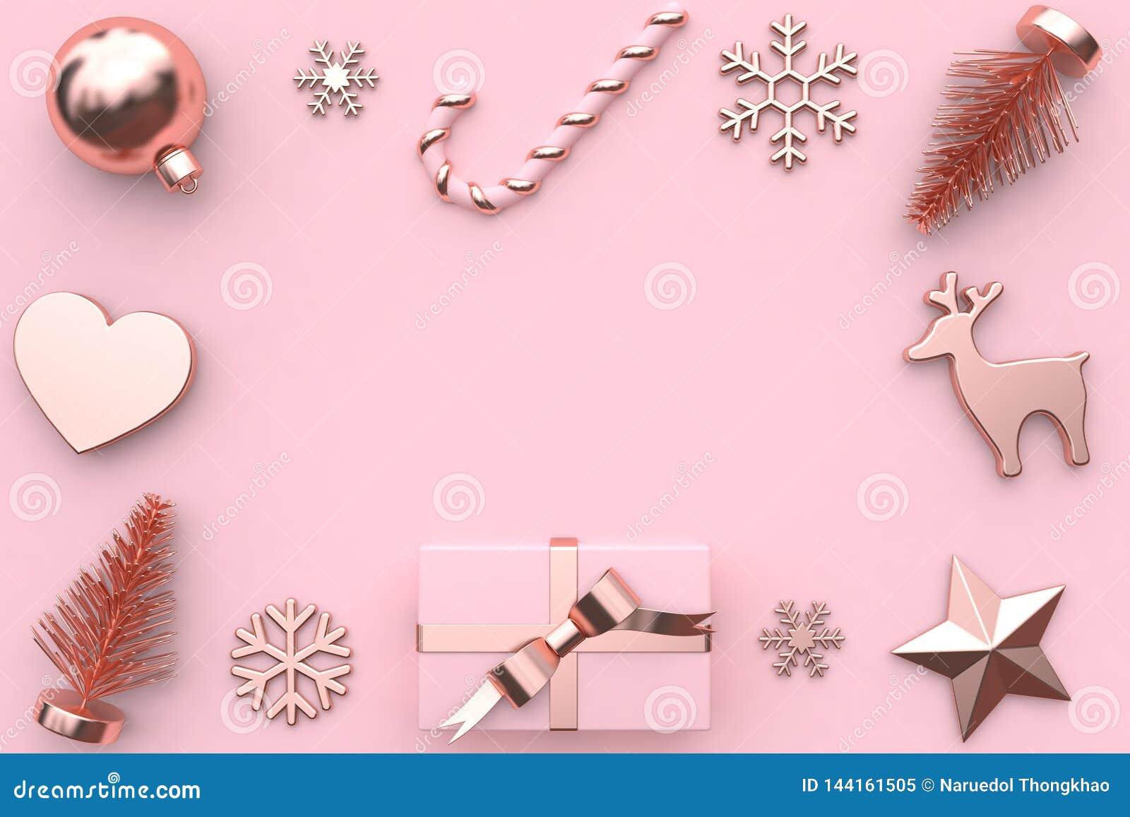 3d rendem a decoração metálica da árvore da neve da caixa de presente da fita do ouro da lustroso-rosa do rosa do sumário
