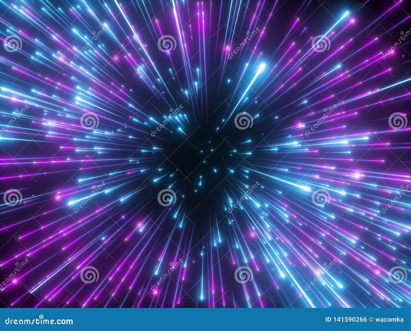 3d rendem, fogos de artifício roxos, golpe grande, galáxia, fundo cósmico abstrato, celestial, estrelas, universo, velocidade da