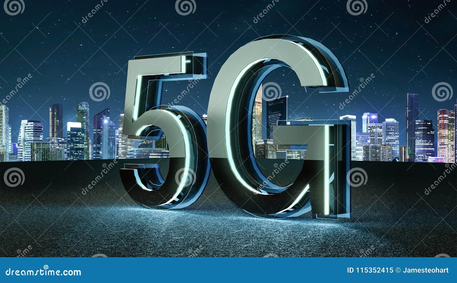 3D rendem a fonte 5G futurista com luz de néon azul