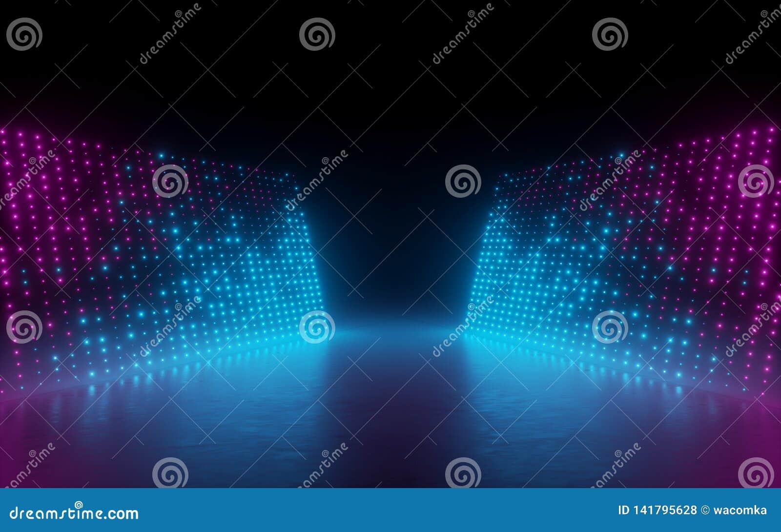 3d rendem, fundo abstrato, pixéis da tela, pontos de incandescência, luzes de néon, realidade virtual, espectro ultravioleta, fas