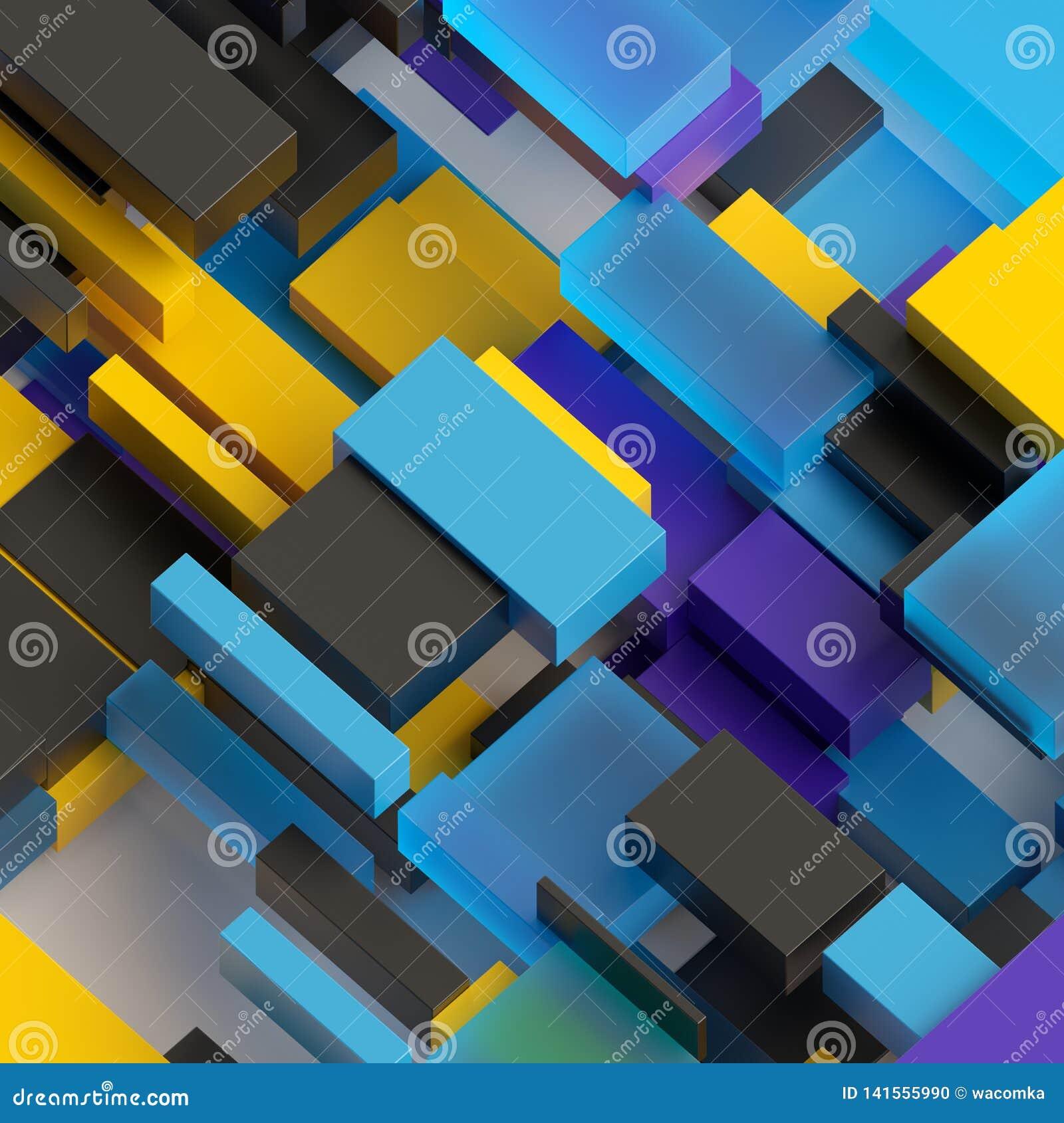 3d rendem, fundo geométrico abstrato, preto amarelo azul roxo, blocos coloridos, tijolos, camadas, teste padrão