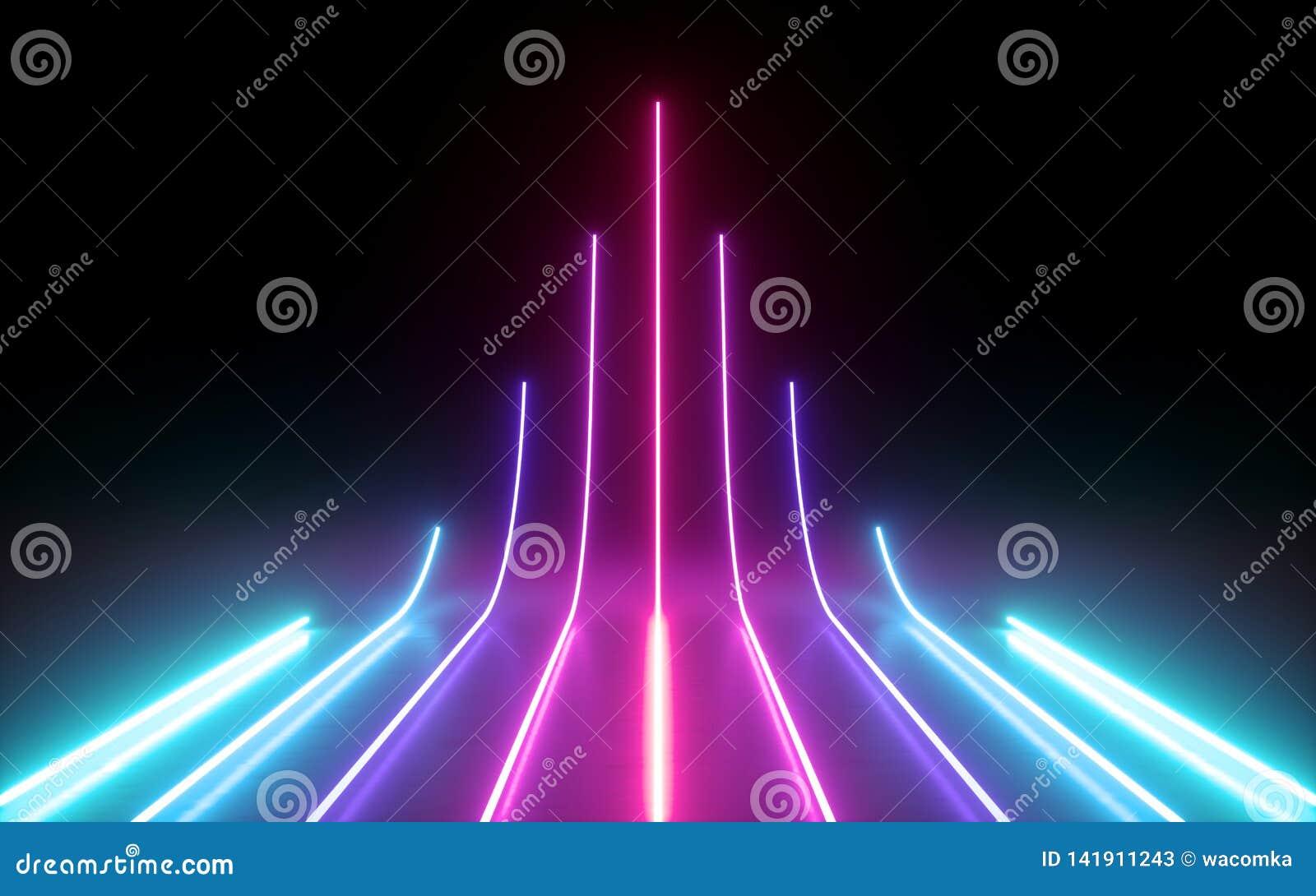 3d rendem, fundo mínimo abstrato, linhas de incandescência que vão acima, seta, cyber, carta, luzes de néon azuis do rosa, ultrav