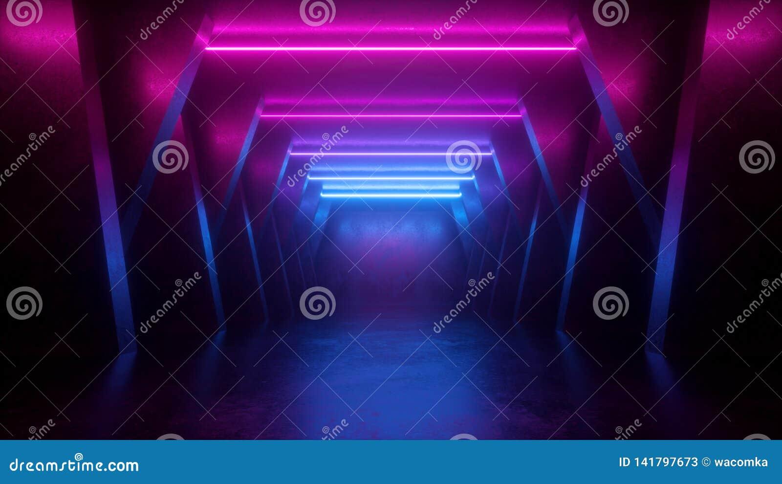 3d rendem, o fundo abstrato de néon, sala vazia, túnel, corredor, linhas de incandescência, luz geométrica, ultravioleta