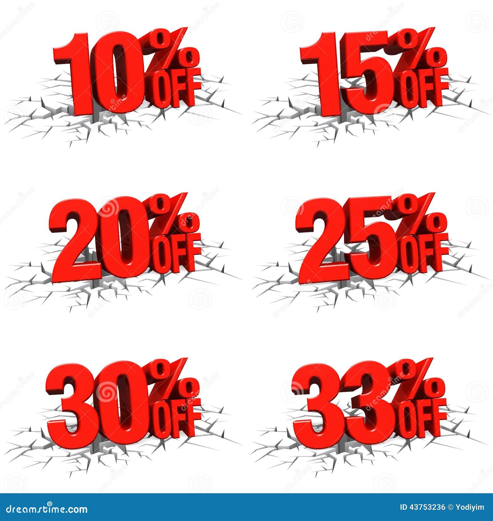 25 30 30 Helloworld: 3D Rendem O Texto Vermelho 10,15,20,25,30,33 Por Cento