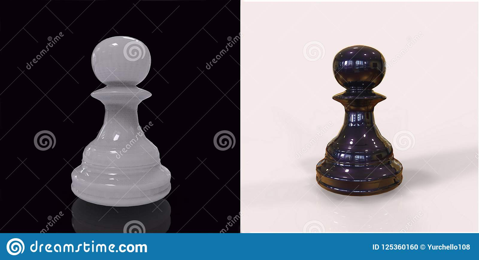 3d rendem partes de xadrez preto e branco