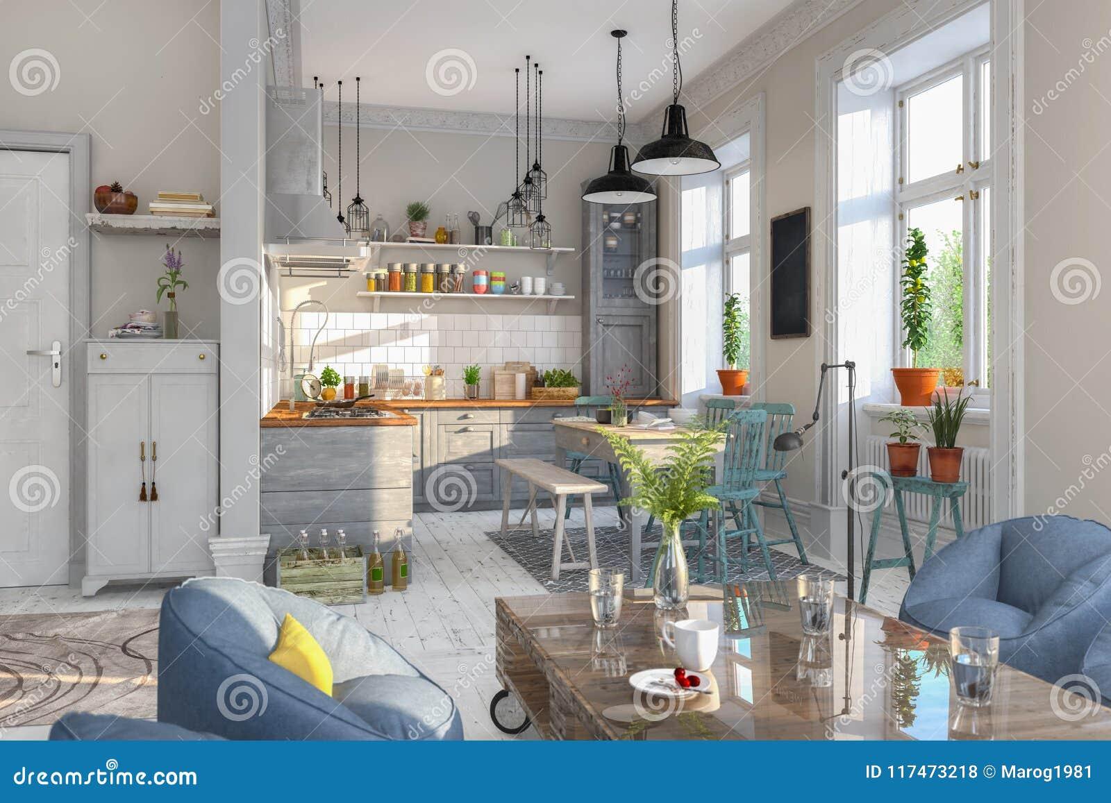 3d Rendent Appartement Scandinave La Cuisine Salle A Manger