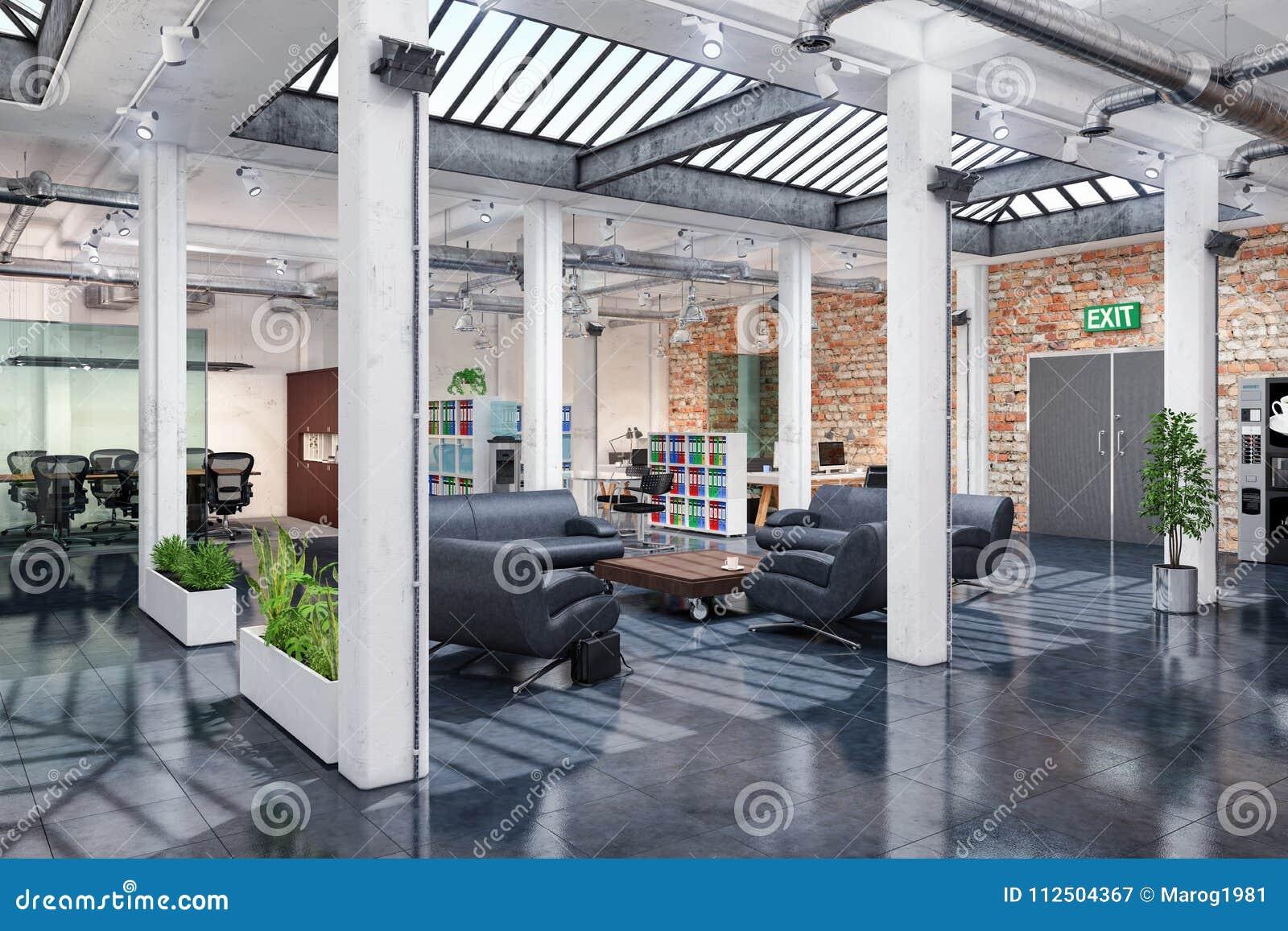 D rendent bureau ouvert de plan l immeuble de bureaux