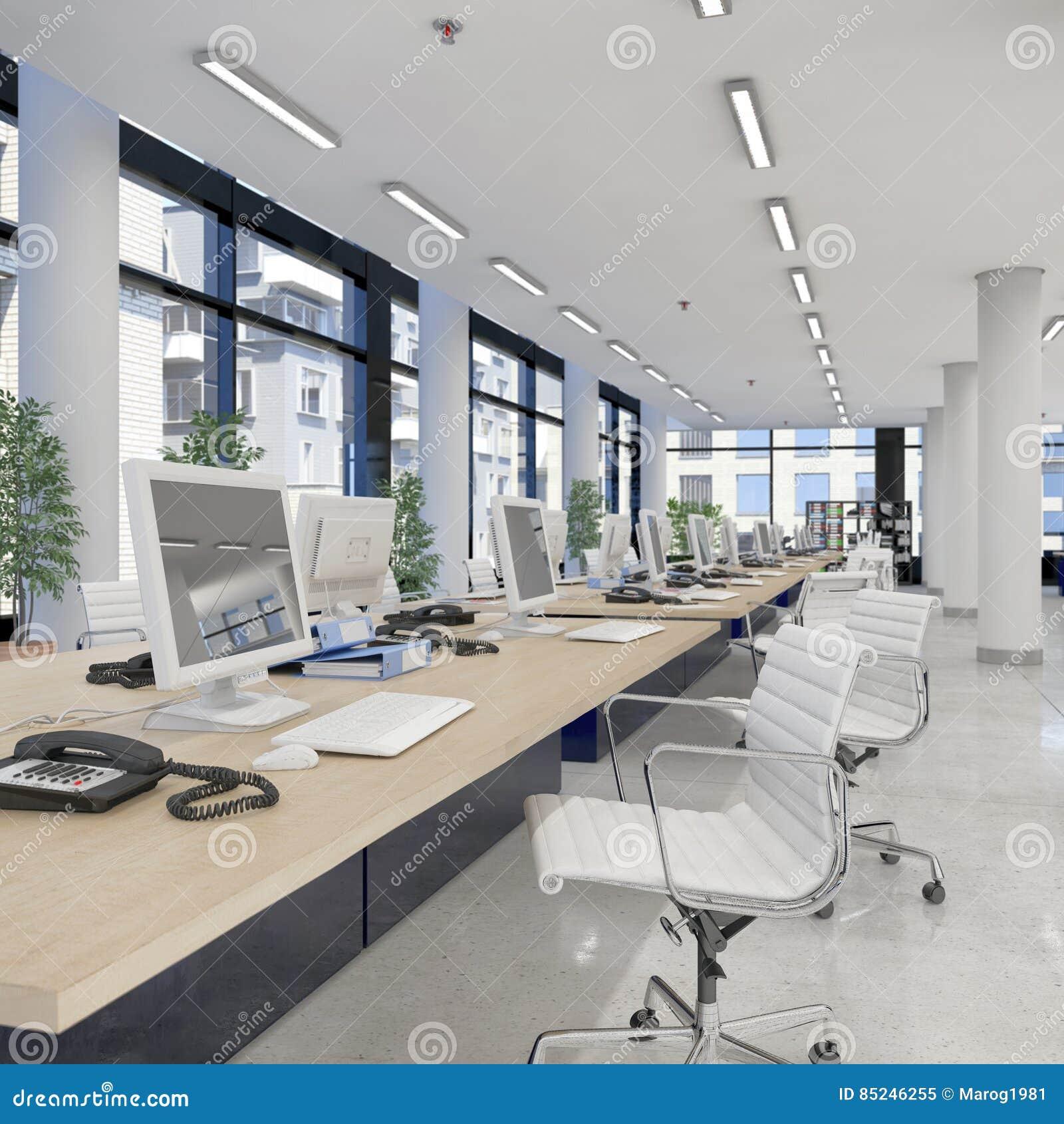 3d rendent bureau ouvert de plan l 39 immeuble de bureaux for Immeuble bureau plan