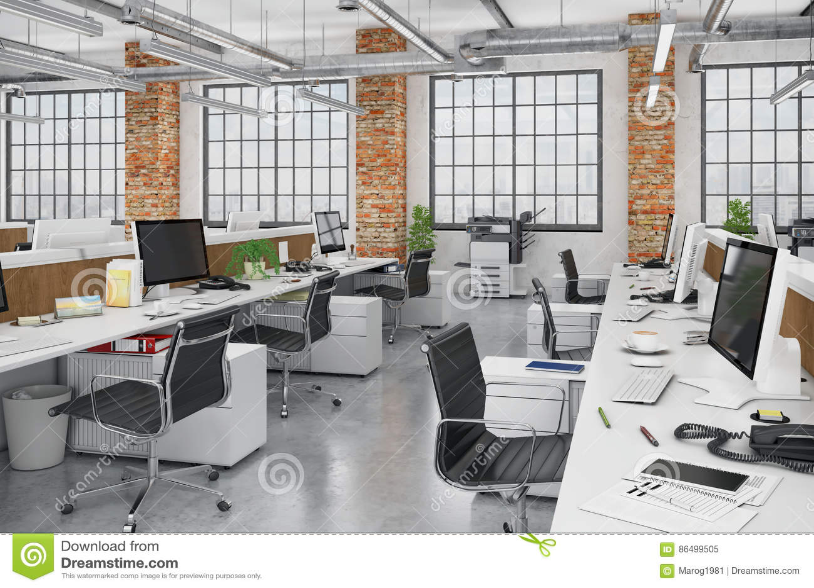3d rendent bureau ouvert de plan limmeuble de bureaux