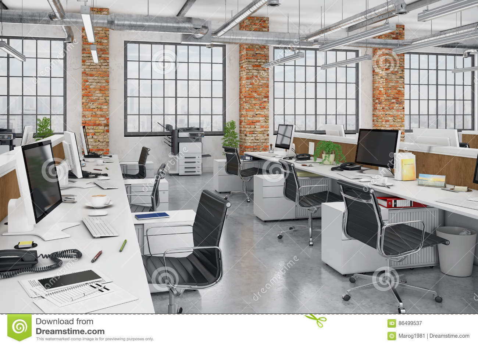 Plan De Bureaux : 3d rendent bureau ouvert de plan limmeuble de bureaux