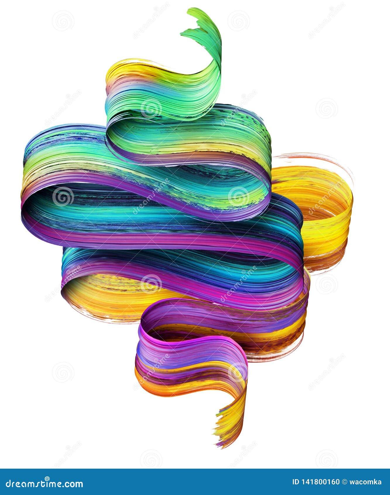3d rendent, course abstraite de brosse, calomnie au néon, ruban plié coloré, texture de peinture, clipart (images graphiques) art