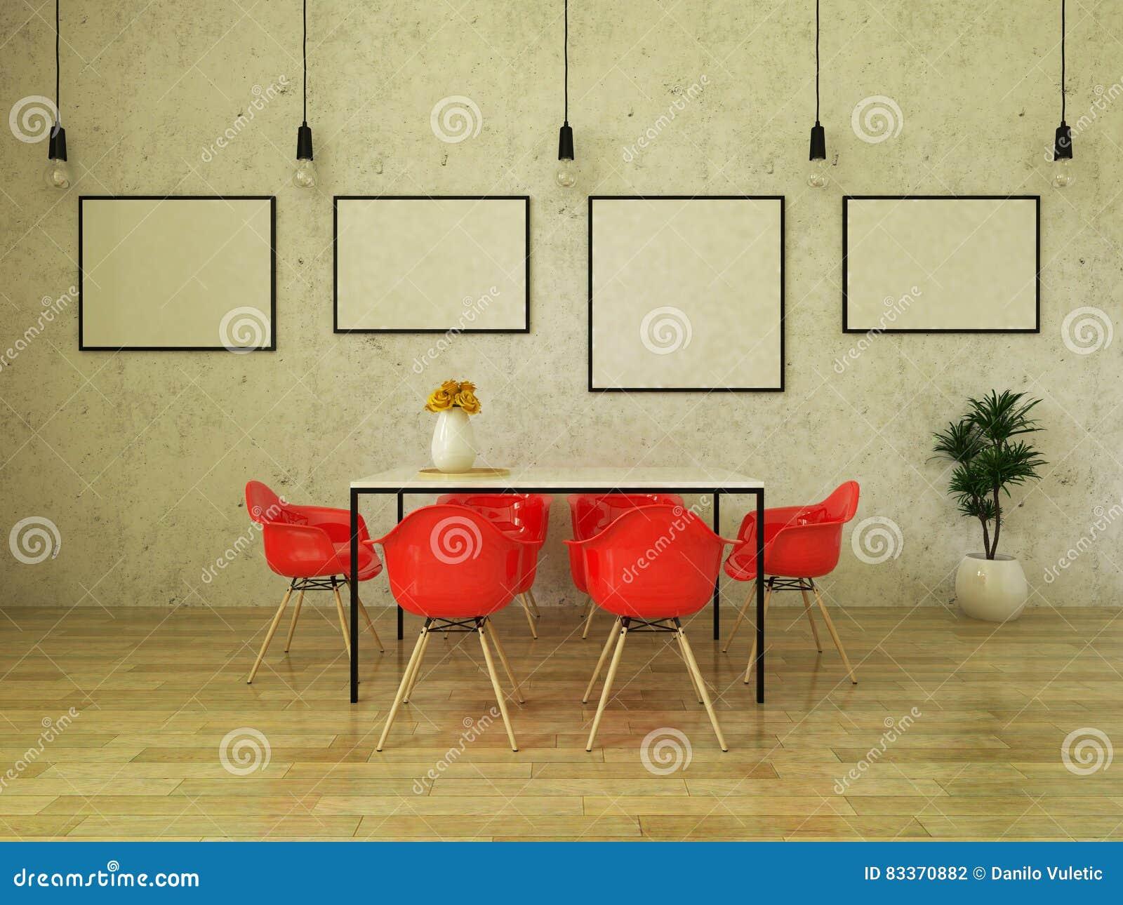 3d Rendent De La Belle Table De Salle A Manger Avec Les Chaises