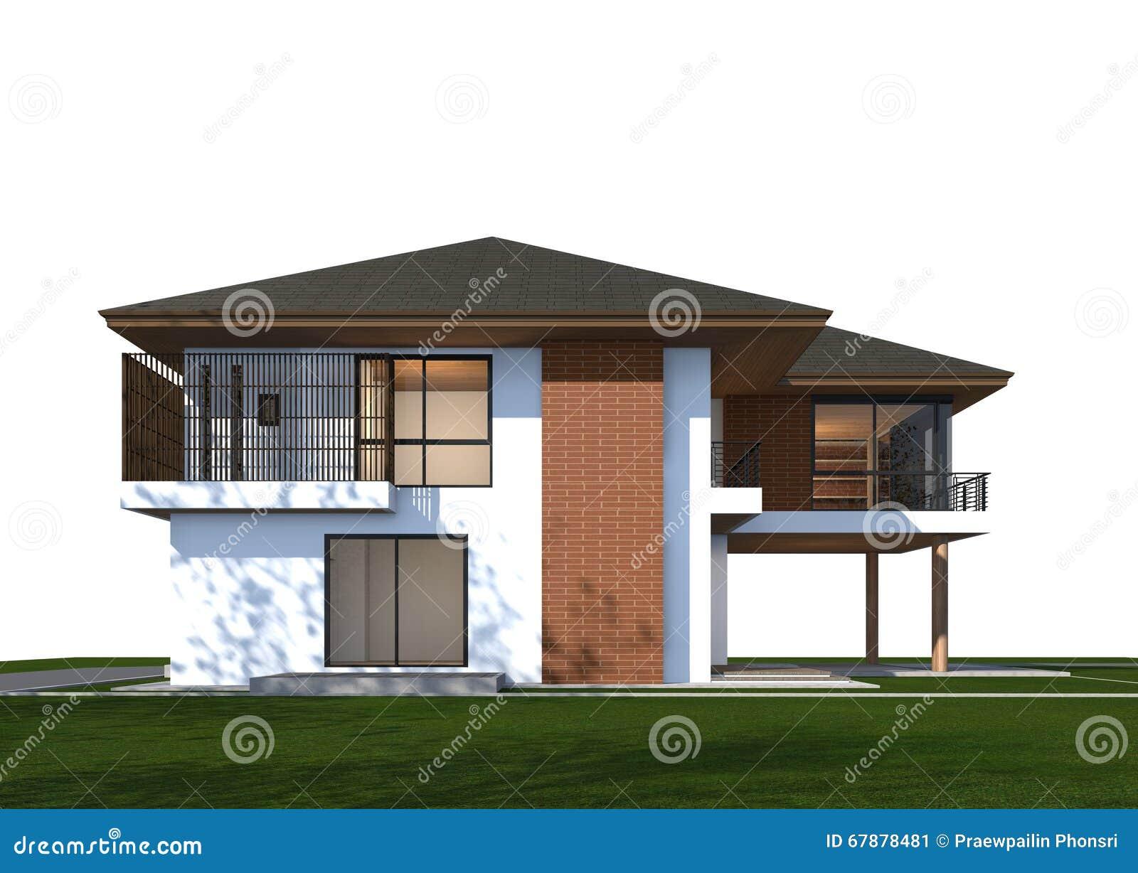3d Rendent De La Maison Tropicale Avec Le Chemin De Coupure Image Stock Image Du Avec Rendent 67878481