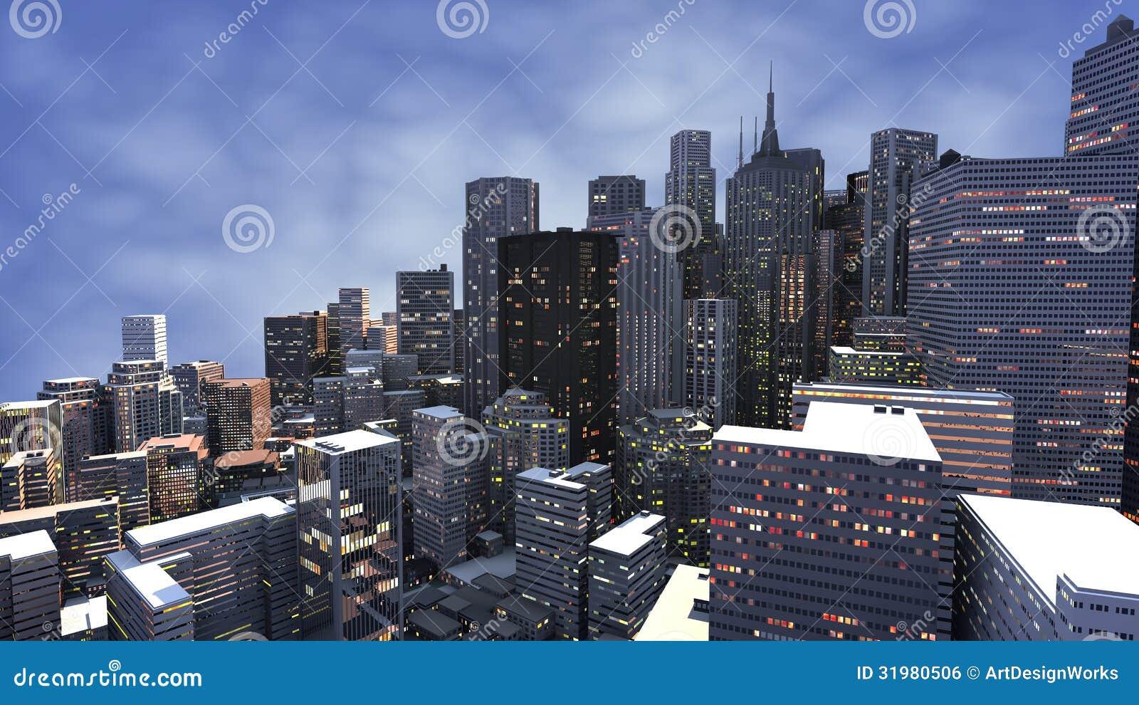 3D rendent de la ville