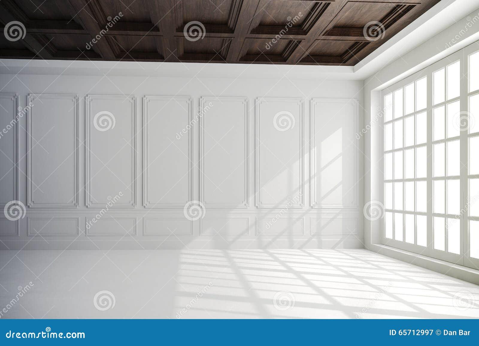 3d rendent du bel intérieur avec les murs blancs et le plafond en bois