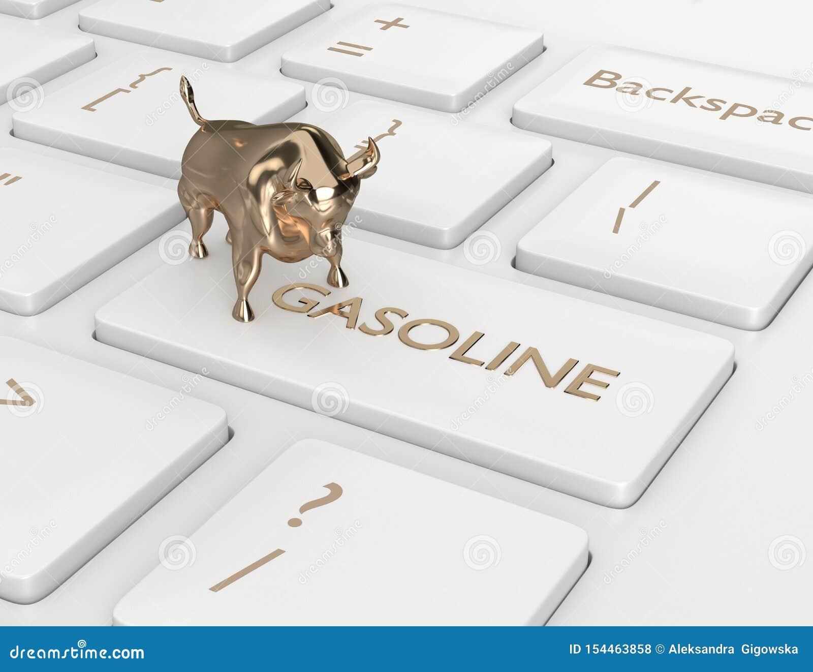 3d rendent du clavier avec le bouton et le taureau d essence