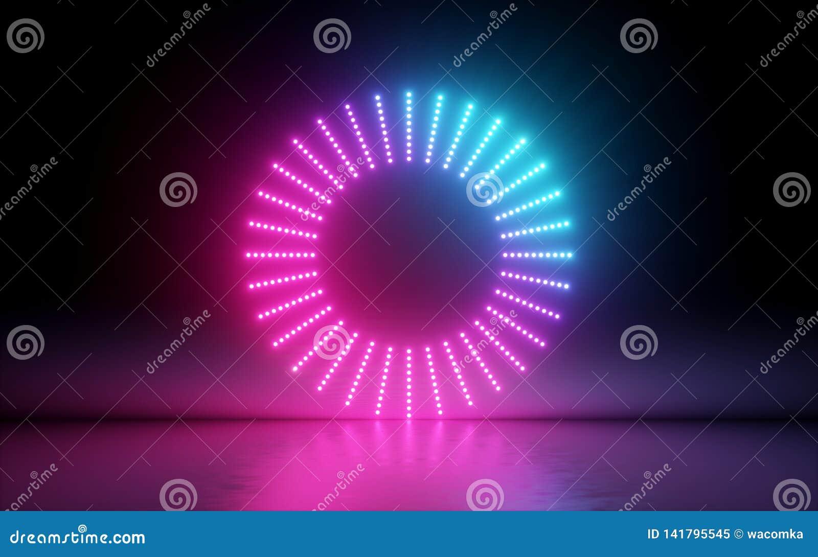 3d rendent, fond abstrait, écran rond, anneau, points rougeoyants, lampe au néon, réalité virtuelle, interface d égaliseur de vol