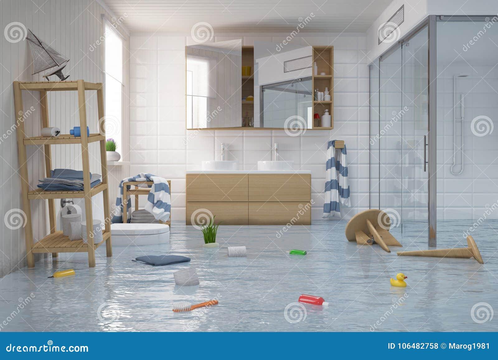 Salle De Bain Nordique ~ 3d rendent inondant le scandinave la salle de bains nordique