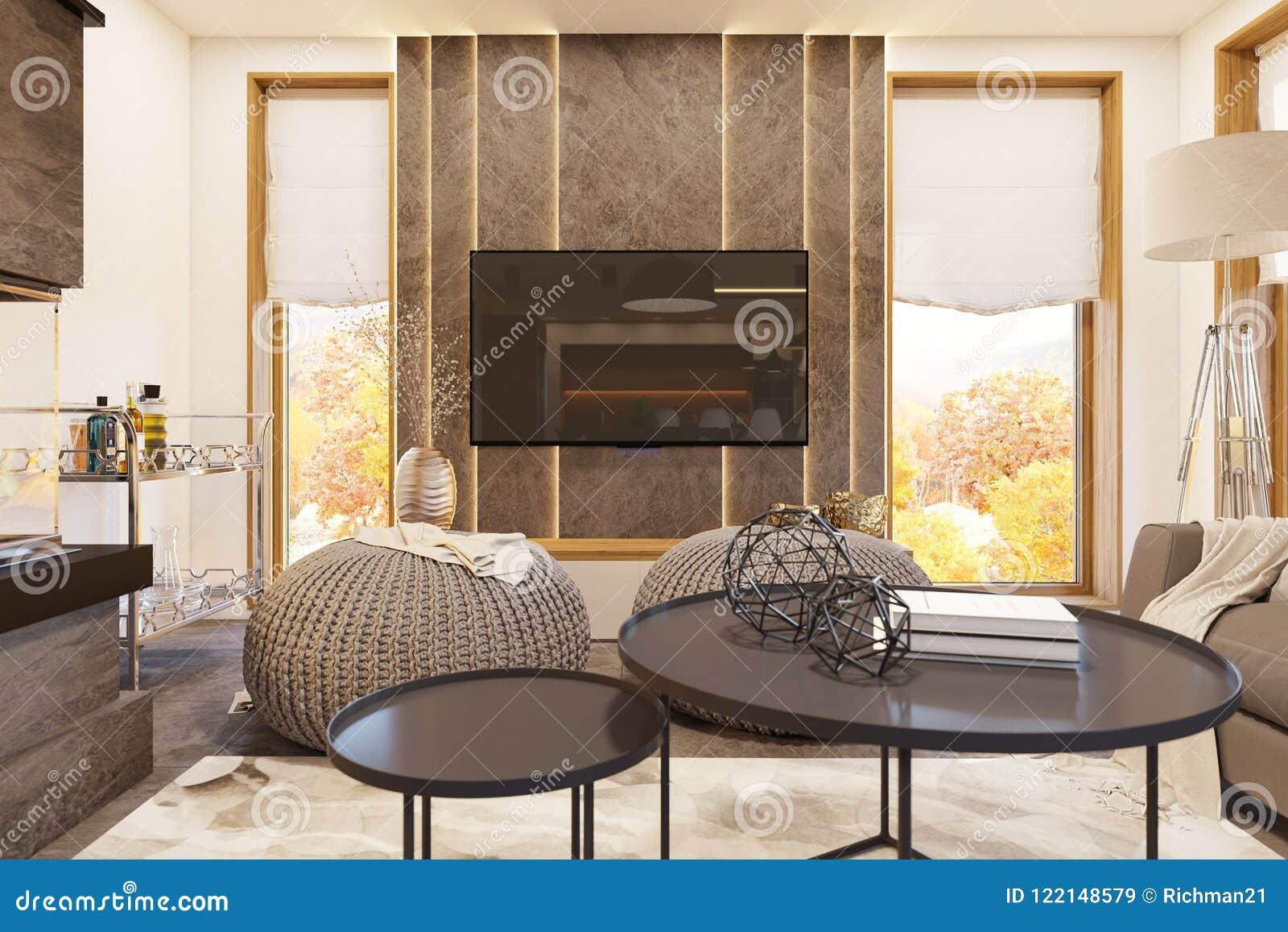 3d Rendent La Conception Intérieure De Salon Moderne Avec La ...