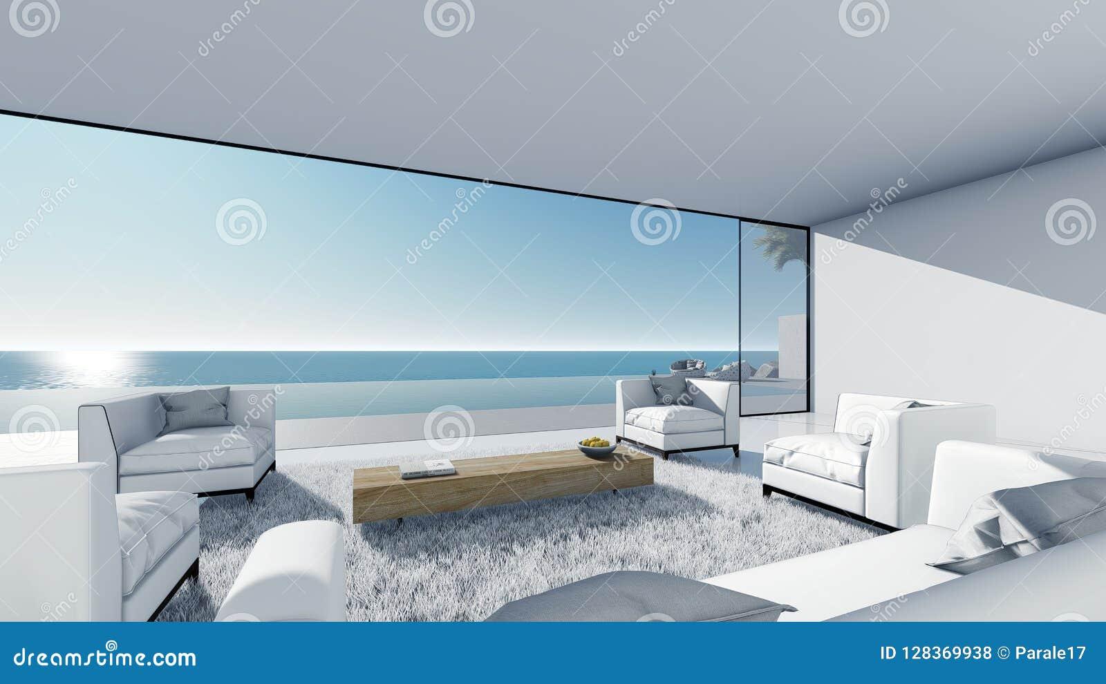 3d rendent la vue de mer de terrasse de piscine détendent le salon gauche de vue