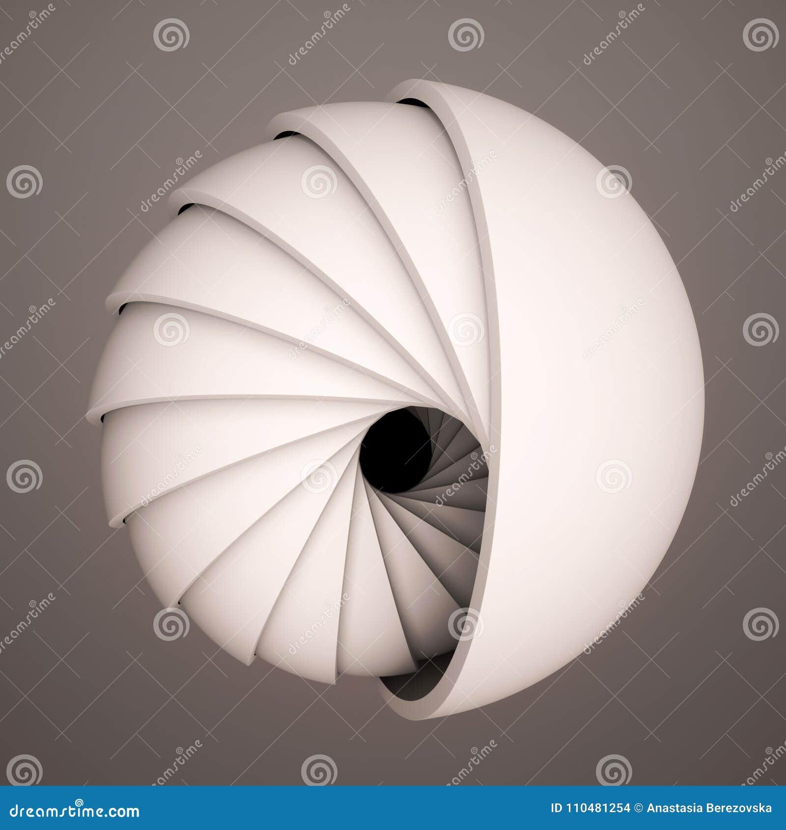 3D rendent le fond abstrait Formes noires et blanches dans le mouvement L hémisphère tournent dans une spirale Art numérique géné