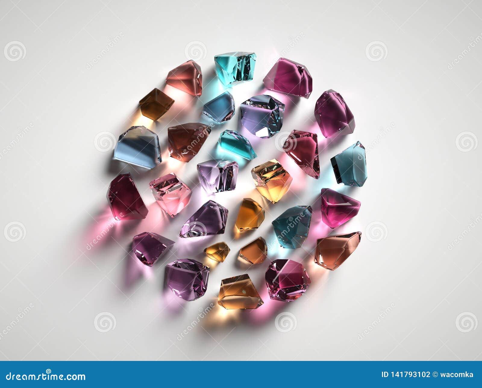 3d rendent, ont assorti les cristaux spirituels colorés d isolement sur le fond blanc, pierres gemmes, le quartz curatif, pépites