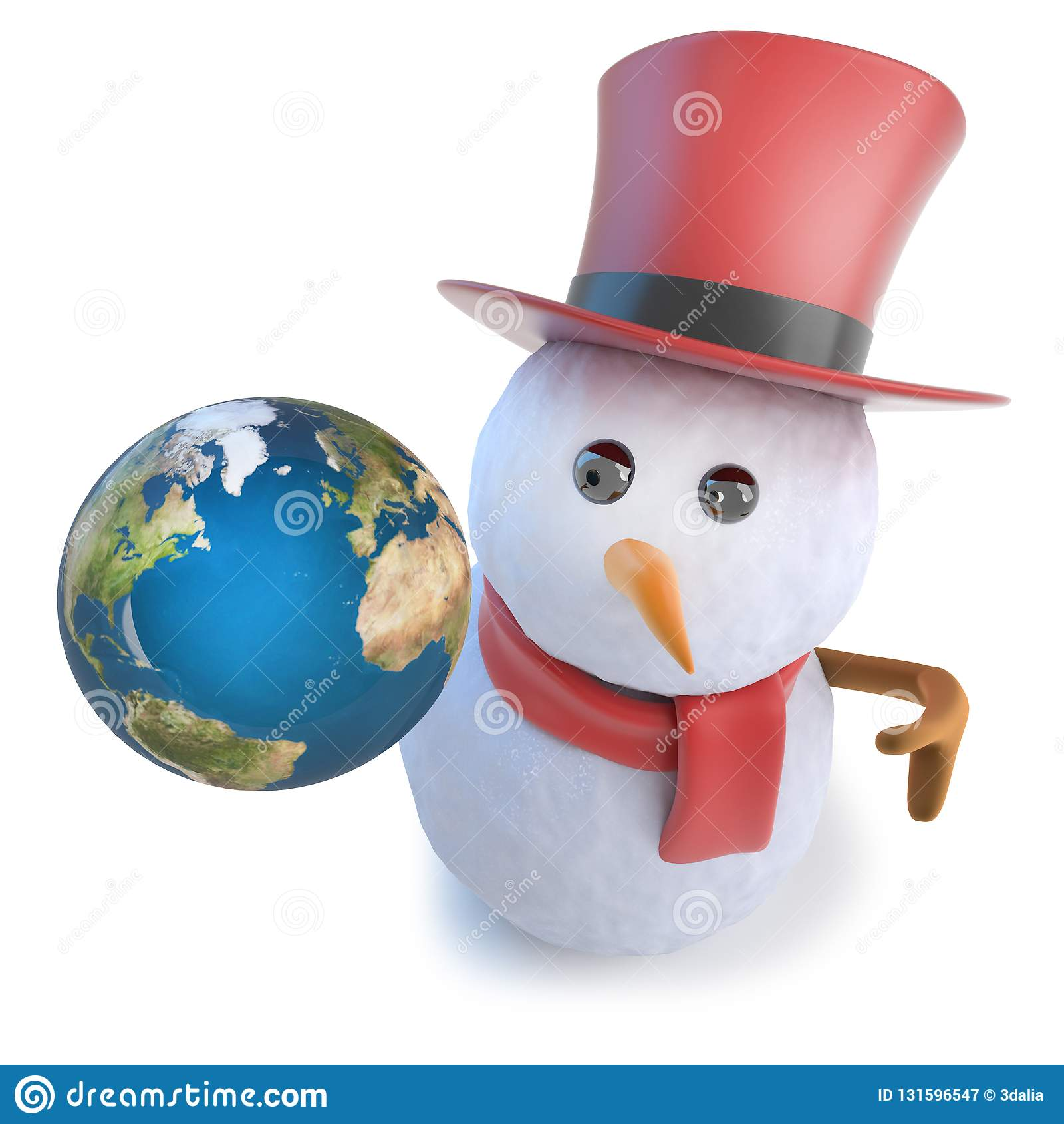 3d Rendent D Un Bonhomme De Neige Drole De Bande Dessinee Utilisant Un Chapeau Superieur Et Tenant Un Globe De La Planete De La T Illustration Stock Illustration Du Rendent Planete 131596547