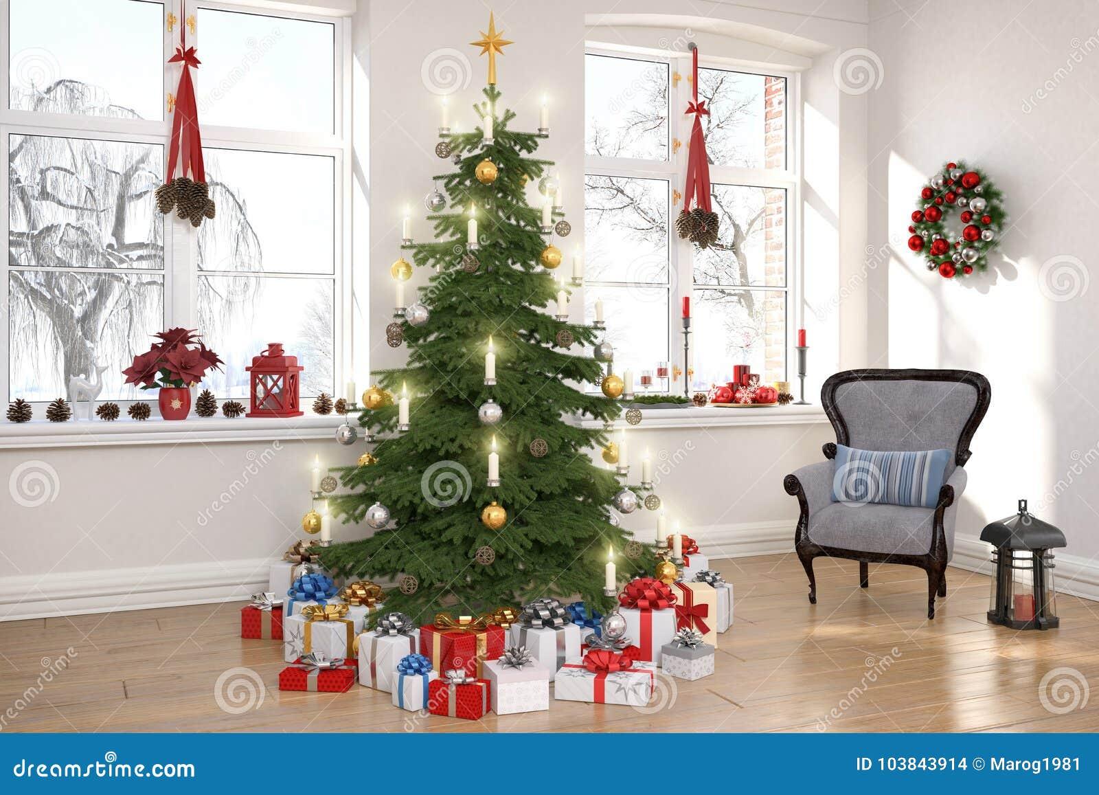 3d rendent d un salon nordique avec l arbre de Noël