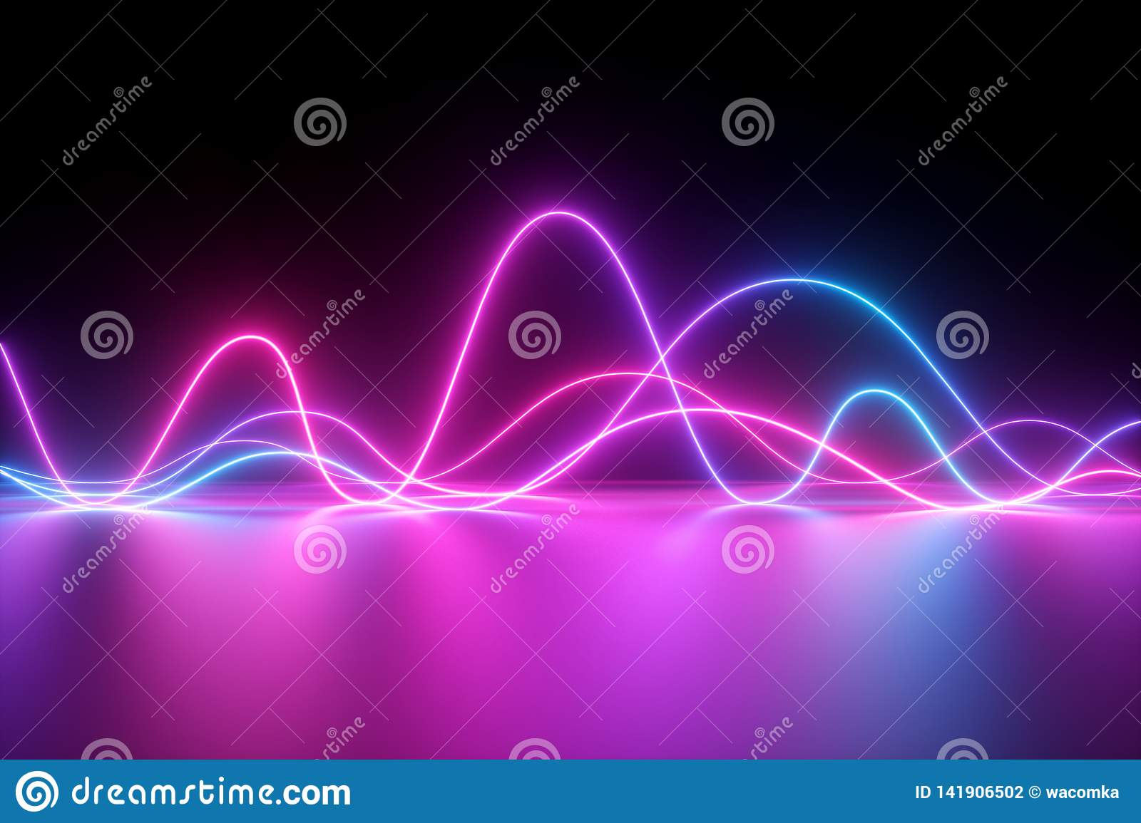 3d render, abstract background, neon light, pulse power lines, laser show, impulse, chart, ultraviolet lines, energy