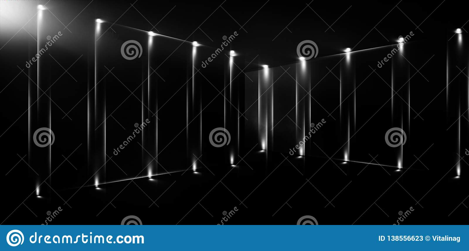 3d Render Abstract Background Tunnel Neon Lights Virtual