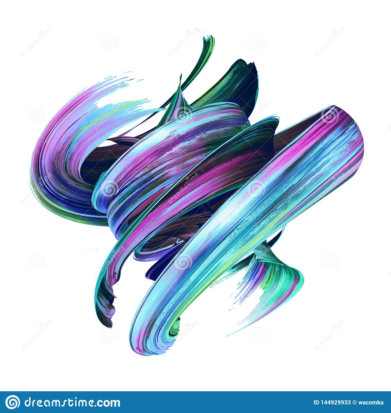 3d Render, Abstract Brush Stroke, Creative Smear Clip Art, Paint