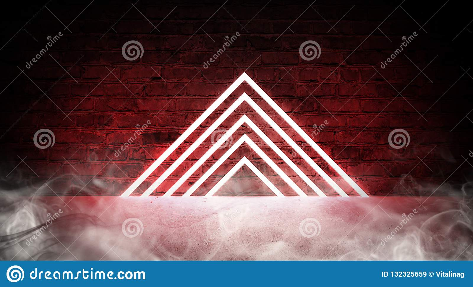 3d render, abstract fashion background, blue pink neon triangular portal, glowing lines