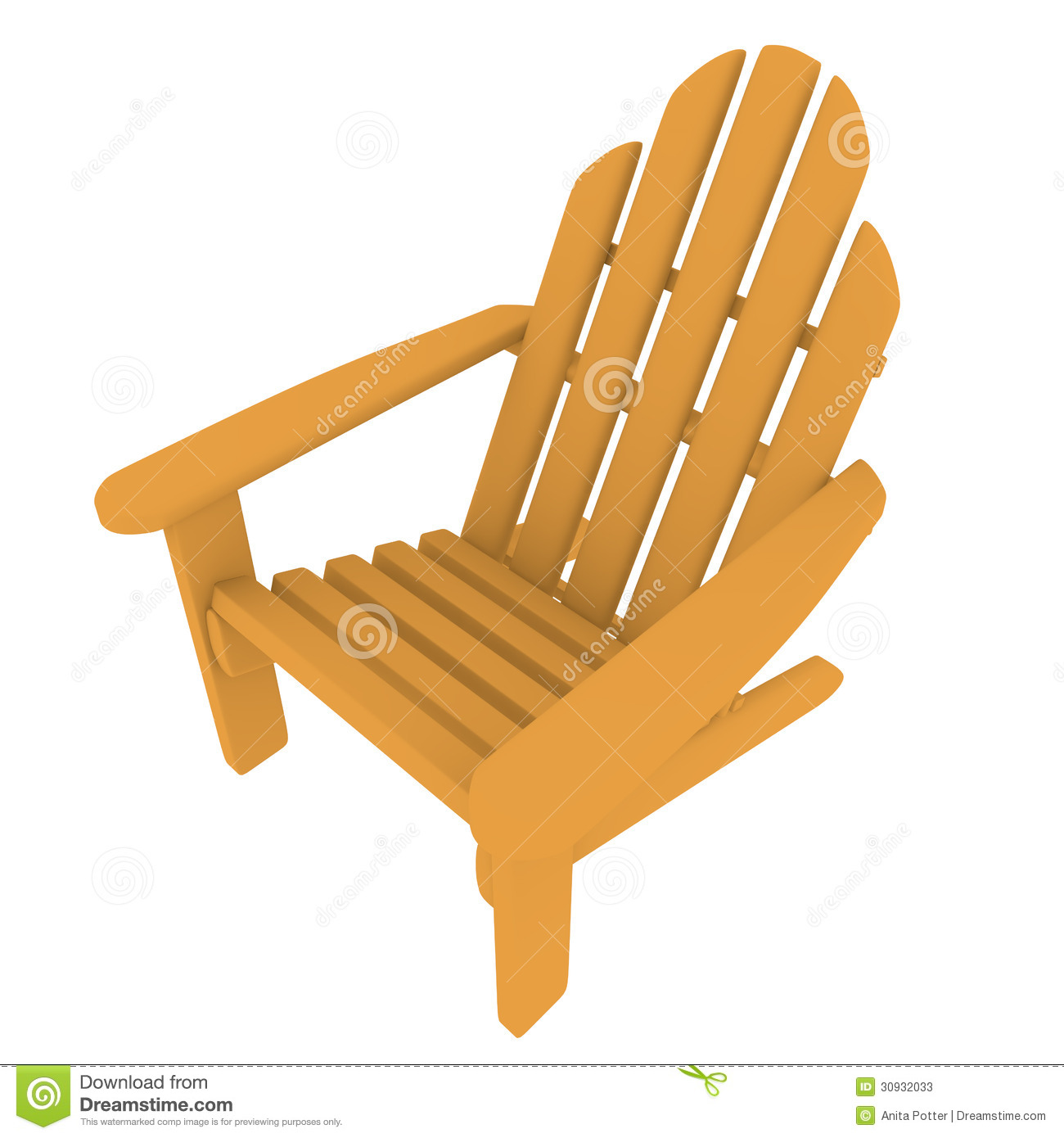 3d Render Of An Adirondack Chair Stock Illustration