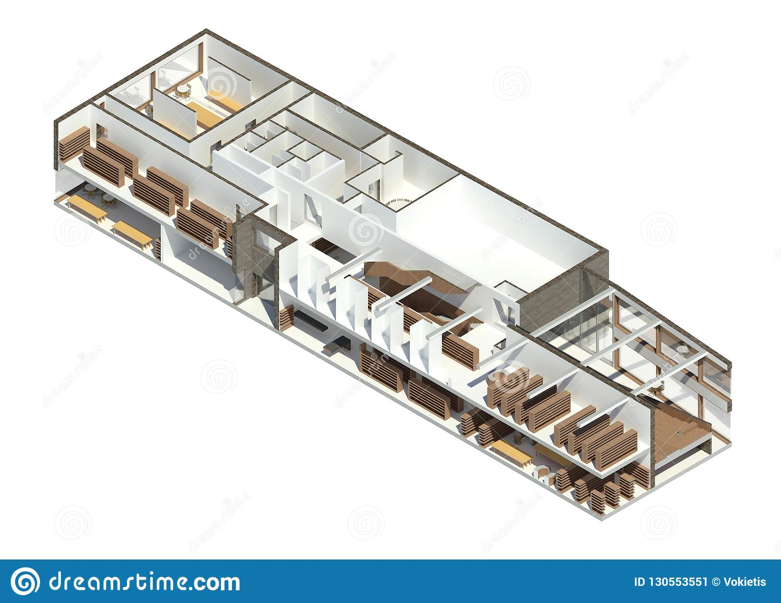 3D render: BIM model of the library