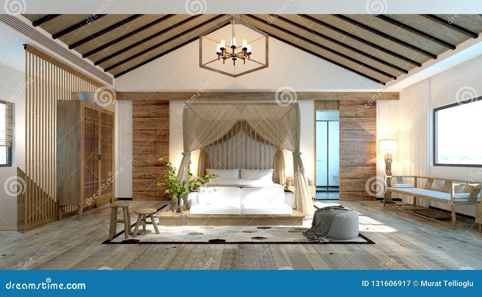 3d Render Asian Style Bedroom Stock Illustration ...