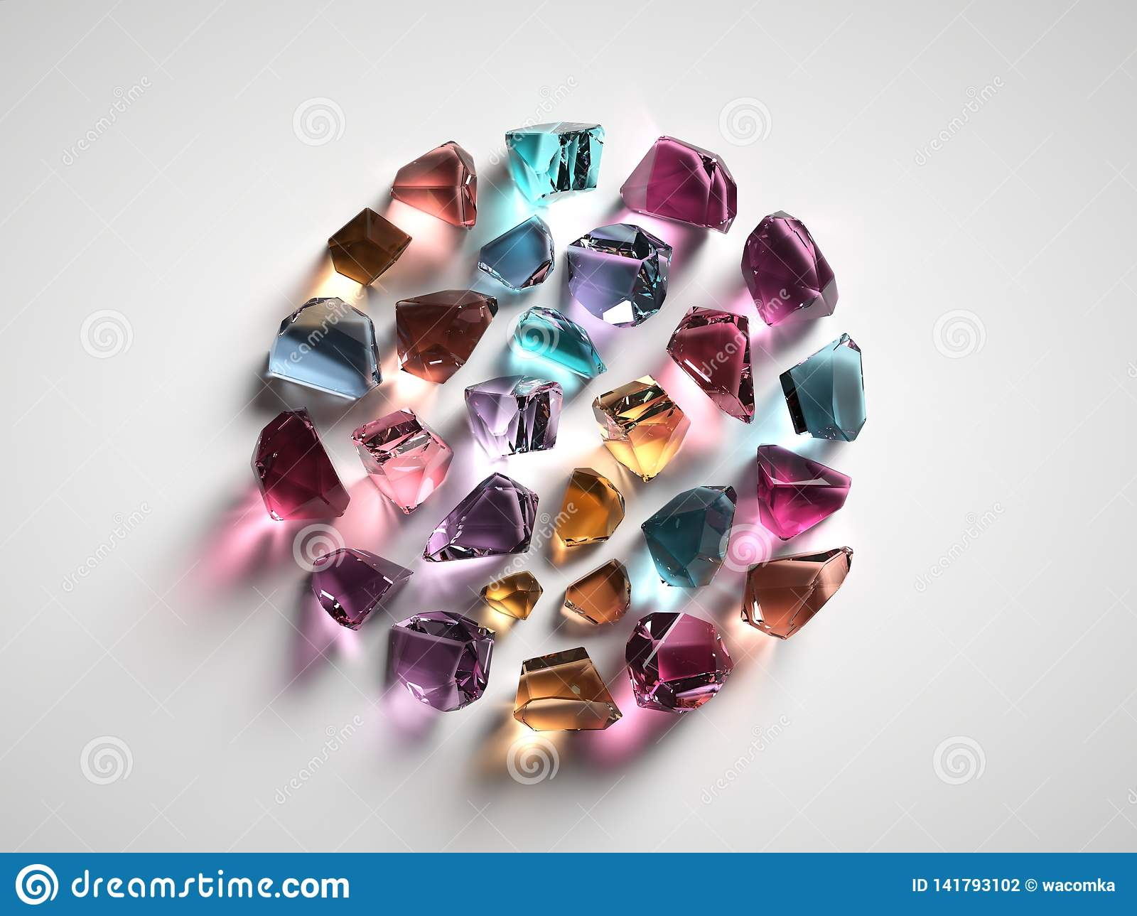 3d render, assorted colored spiritual crystals isolated on white background, gemstones, healing quartz, nuggets round shape