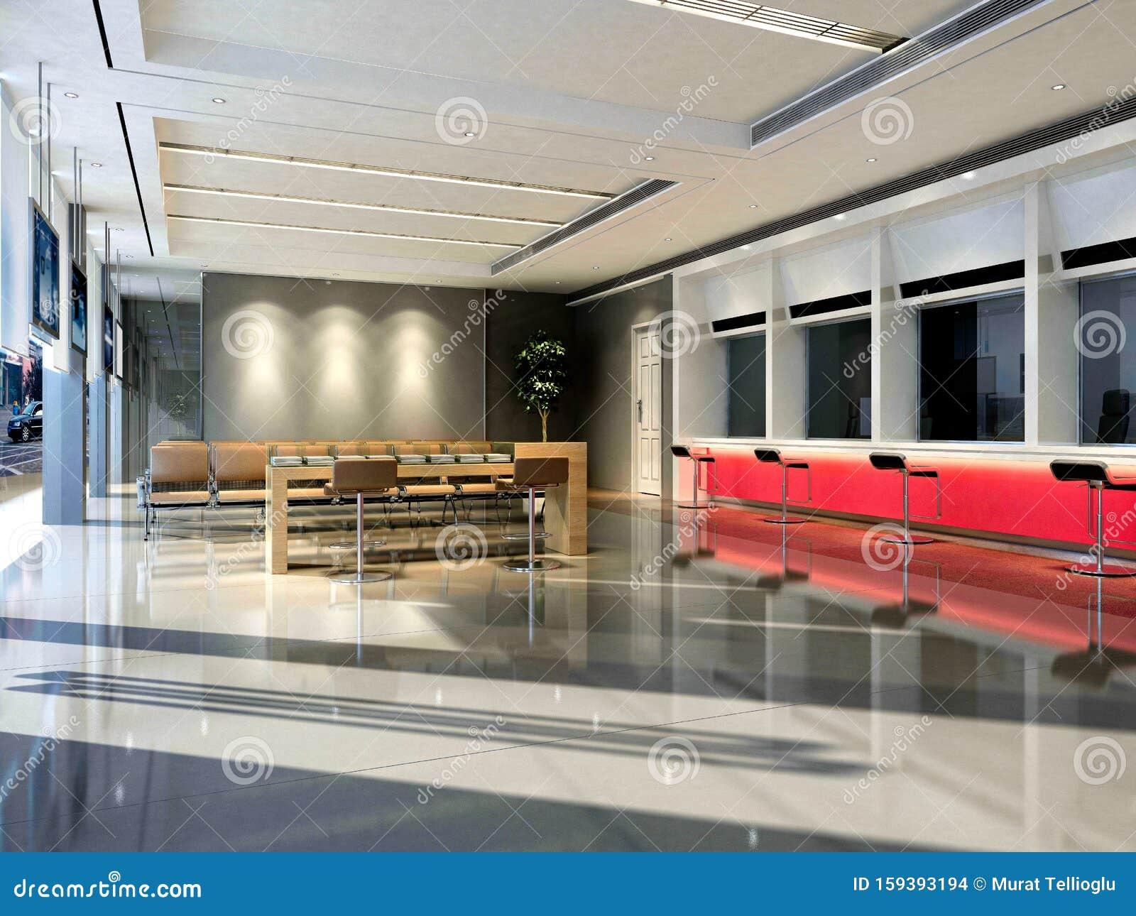 3d Render Of Bank Interior Stock Illustration Illustration Of Corridor 159393194