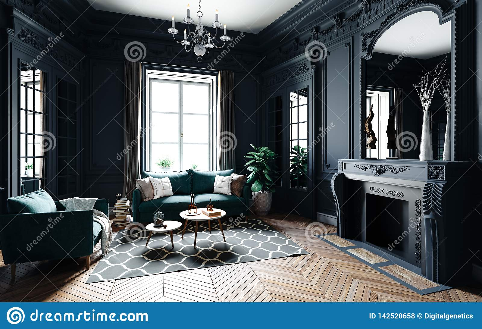 3d Render Of Beautiful Classic Interior Stock Illustration Illustration Of Floor Interior 142520658