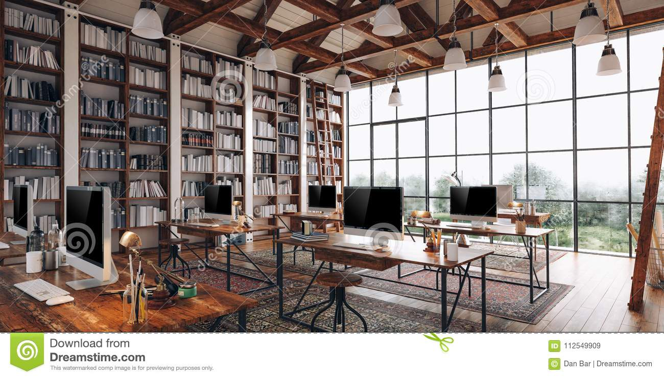 3d render of beautiful industrial style interior