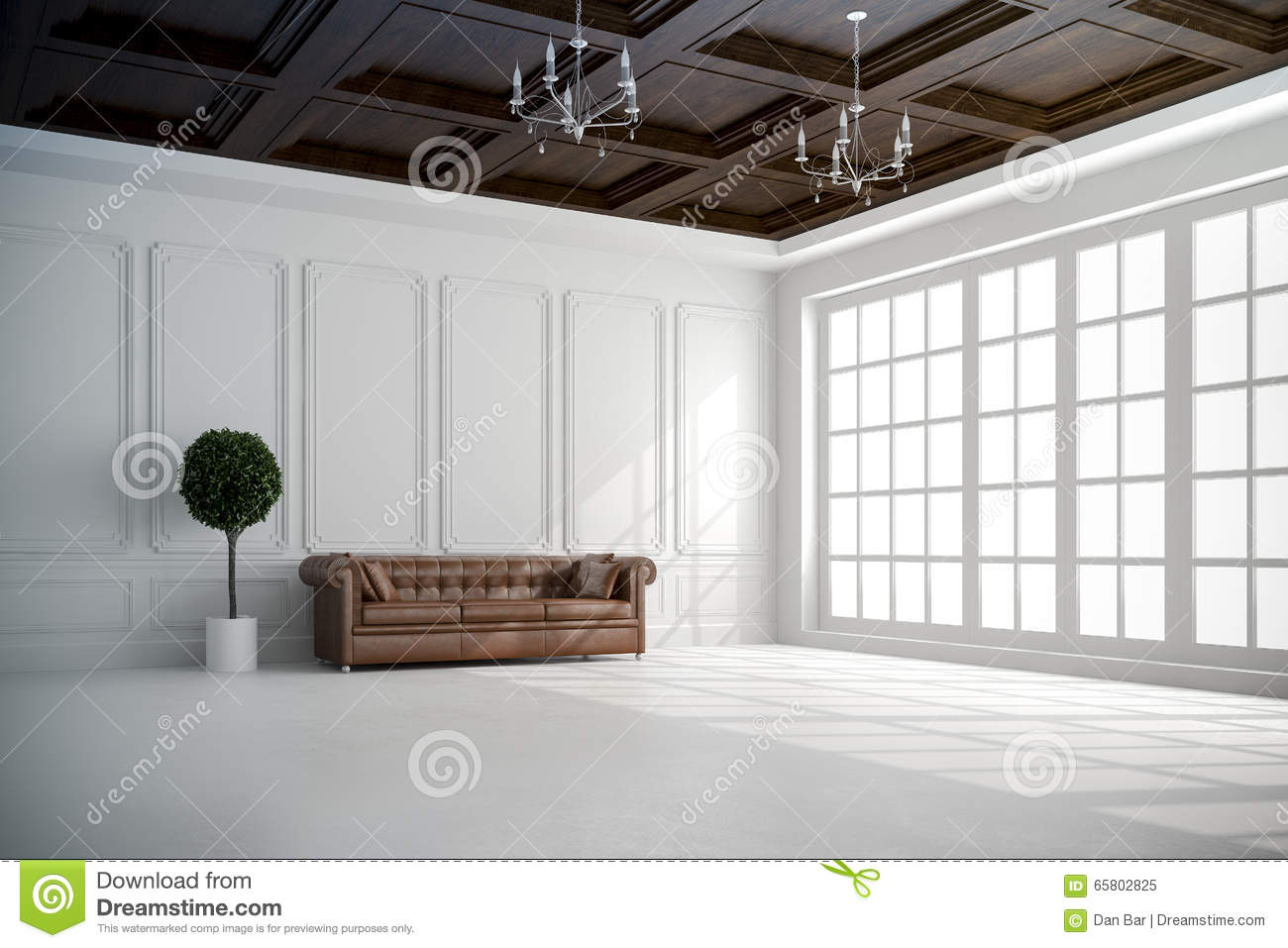 3d render of beautiful interior with white walls and wood for Beautiful ceilings and interiors