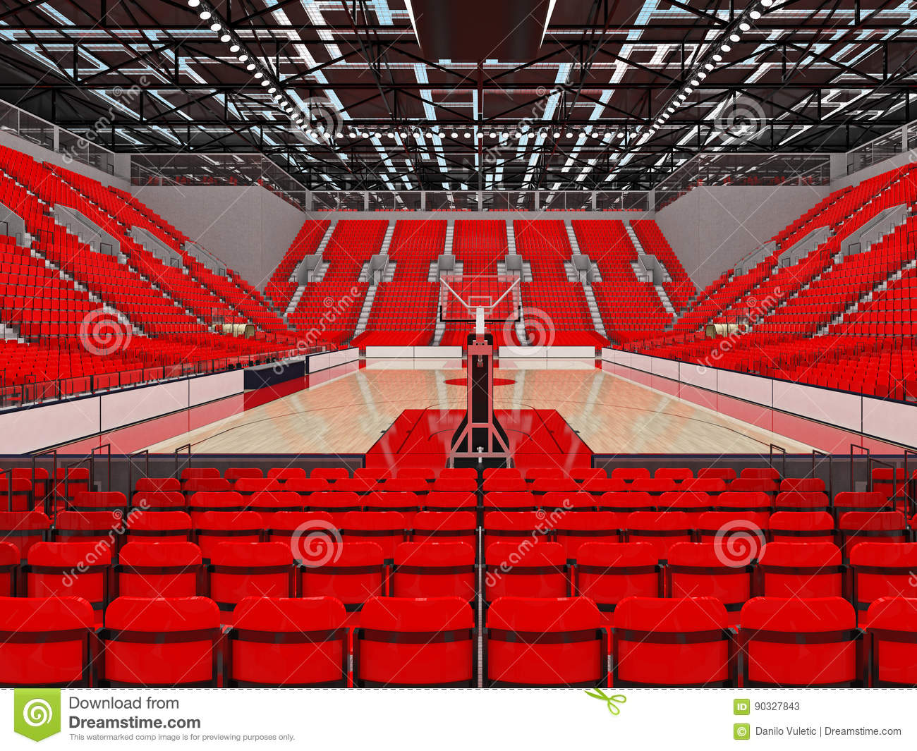 3d render of beautiful sports arena for basketball with red seats stock illustration